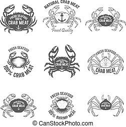 Set of crab meat labels. Fresh seafood. Design elements for logo, label, emblem, sign. Vector illustration.
