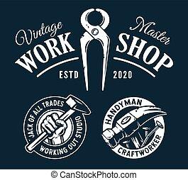 Set of craftworker logos for repair workshop