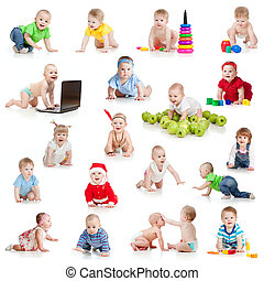 set of crawling babies or toddlers with toys isolated on white