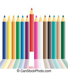 Set of crayons displayed on white background