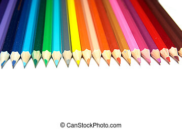 set of crayons on a white background