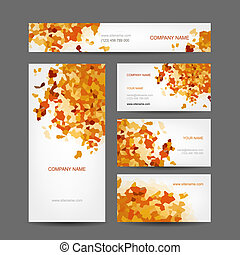 Set of creative business cards design, abstract autumn style