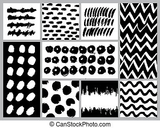 Set of creative cards with blots and scribbles. Vector...