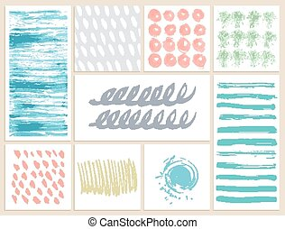 Set of creative cards with blots and scribbles. Vector ...