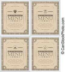 Set of creative restaurant menu cover design