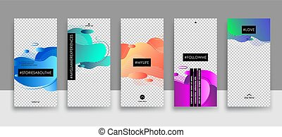 Set of creative universal Editable Stories Template in trendy style on transparent background for social media promo with Fluid elements.