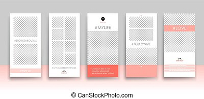 Set of creative universal Editable Stories Template in trendy style on transparent background for social media promo with Living Coral colors.