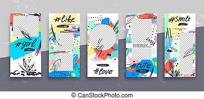 Set of creative universal Editable Stories Template in trendy style with Hand Drawn textures on transparent background for social media promo.