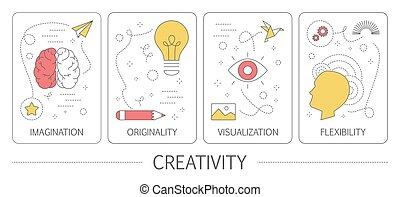 Set of creativity abstract line vertical banners - Set of...