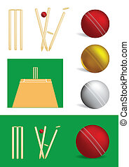 Set of cricket game objects