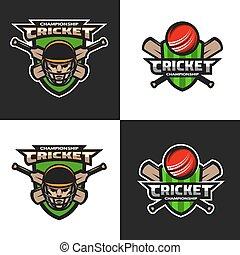 Set of  cricket sports  emblem.
