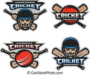 Set of  cricket sports logos, emblem.