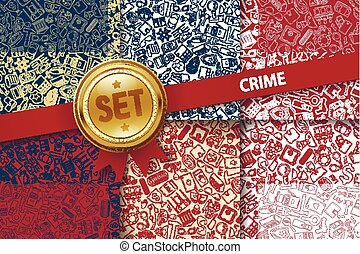 Set of crime backgrounds with doodle icons in different colors