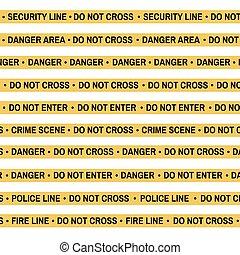 Set of Crime scene yellow tape, police line, danger, fire, Do Not Cross tape. Cartoon flat-style. Vector illustration. White background.