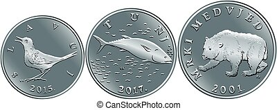 Set of Croatian money kuna silver coins