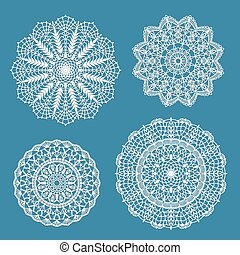 Set of crochet doilies