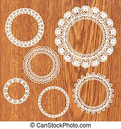 Set of crochet lacy frames.