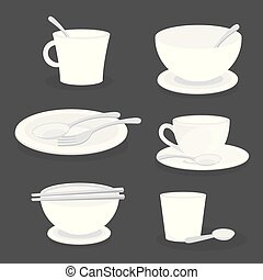 Set of Crockery and glassware ceramic for Kitchen, cup, dish, bowl, mug, spoon, fork. Object using for Food.