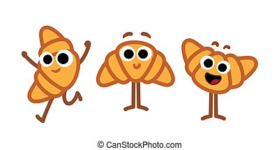 Set of croissants cartoon doodle characters. Happy funny food mascots for bakery and restaurants menu. Simple isolated vector art. Adorable character design icons set.