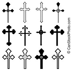 Set of cross silhouettes isolated on white