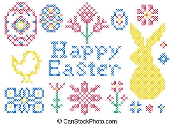 cross stitch embroidery elements