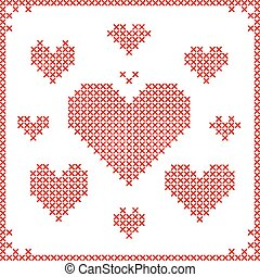 Set of cross stitch embroidery hearts.