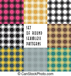 Set of crossed circles colored seamless patterns