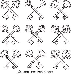 Set of crossed keys design elements vector