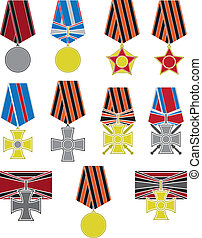 set of crosses and medals