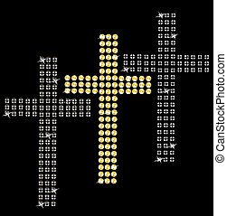 Set of crosses on black background.