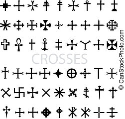 Set of crosses - vector illustration background white