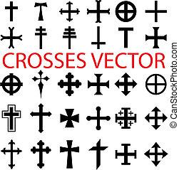 Set of crosses - vector. various religious symbols