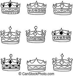 Set of crown hand draw style