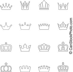 Set of crown icons, vector illustration