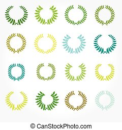 Set of crown laurel wreaths.