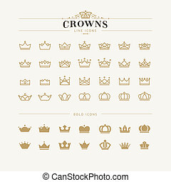 Set of crown line and bold icons - Set of vector crown icons...