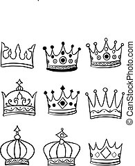Set of crown various hand draw