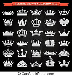 Set of crowns 2 - Set of crown heraldic silhouette icons 2