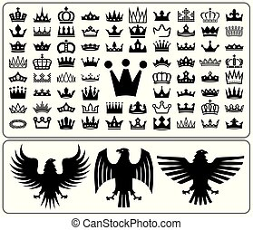 Set of crowns and eagle rampant. Heraldry elements design...