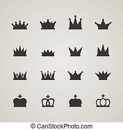 Set of crowns, vector illustration