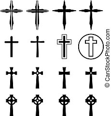 Set of crucifix and cross silhouette in modern
