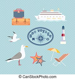 set of cruise trip icons