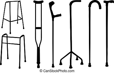 crutches - set of crutches and walkers isolated