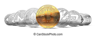 Set of cryptocurrencies with a golden bitcoin on the front...