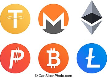 Set of  cryptocurrency coins icons symbols