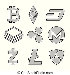 Set of cryptocurrency icons. Line design in grey color. Vector