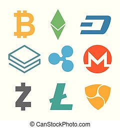 Set of cryptocurrency icons. Simple design in different color. Vector