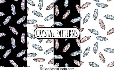 Set of crystal doodles seamless border patterns. Cute cartoon vector quartz amethyst wallpapers. Cozy bohemian style template texture background tiles collection