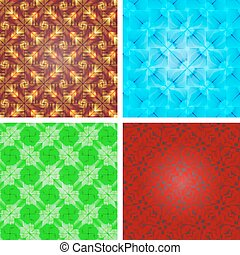 Set of crystal seamless pattern, abstract texture. - Set of...