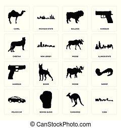 Set of cuba, kangaroo, police car, moose, handgun, cheetah, bulldog, camel icons